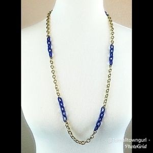 J. Crew Link Chain Necklace Blue/Gold NWT